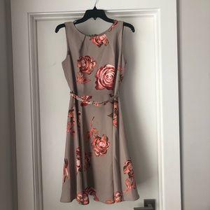 Eva Mendez belted floral dress